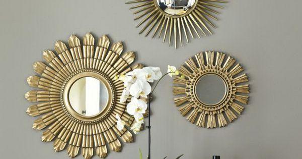 Decoration Gold Starburst Mirror With Orchid Flower