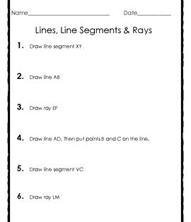 Elementary Geometry Drawing Lines Line Segments And Rays Line Segment Geometry Lessons Segmentation Geometry plane and simple worksheets