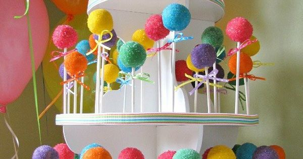 Colorful cake pops! I want the cake pop stand!!!
