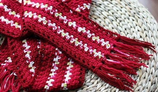 Two Tone Lace Edge Crochet Scarf Crochet Freepattern