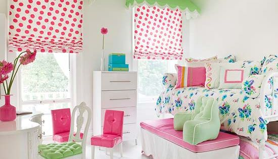 Cute Bedrooms for Girls, love bright colors, patterns, & inventive window treatment