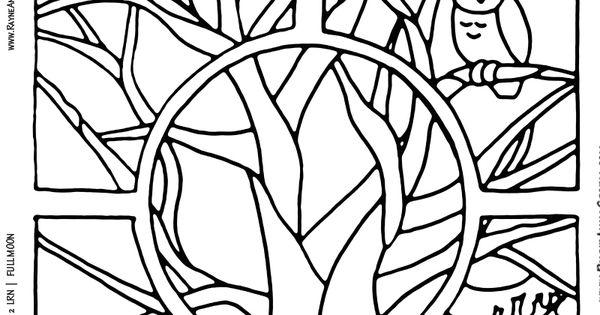 FALLING LEAVES FULL MOON Coloring Sheet (c) Rayne Anna ...