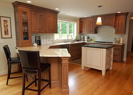 Kitchen Island Or Peninsula kitchens with peninsulas |  cherry cabinets | atticmag