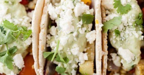 Vegetarian Tacos with Avocado Cream | Recipe | Roasted Vegetables ...
