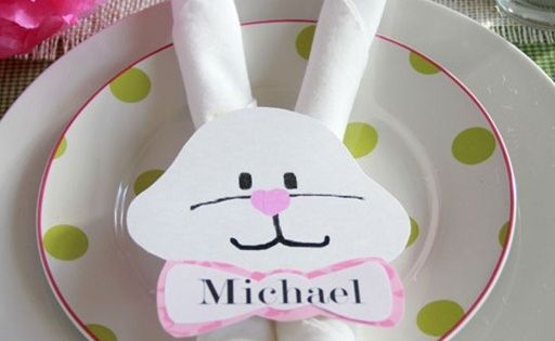 Easter Bunny napkin ring and Bunny Ears napkin fold