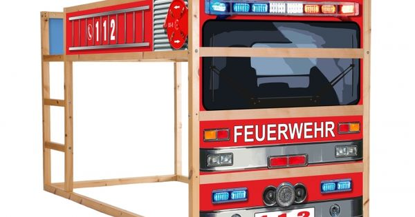 feuerwehr kinderzimmer feuerwehrauto m belsticker aufkleber f r kura von ikea im209. Black Bedroom Furniture Sets. Home Design Ideas