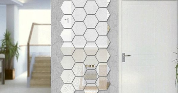 Modern Creative 3D Silver Mirror Geometric Hexagon Acrylic Wall ...