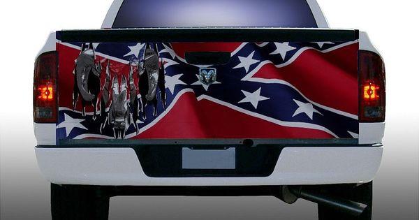 Rebel Flag Dodge Ram Truck Tailgate Vinyl Graphic Decal