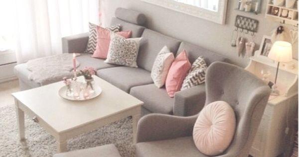living room | wohnzimmer / rosa/grau | gemütlich | wohnzimmer ... - Wohnzimmer Grau Rosa