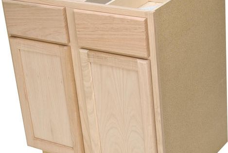Quality one 30 x 34 1 2 unfinished oak double base cabinet with drawers at menards house - Unfinished kitchen cabinets menards ...