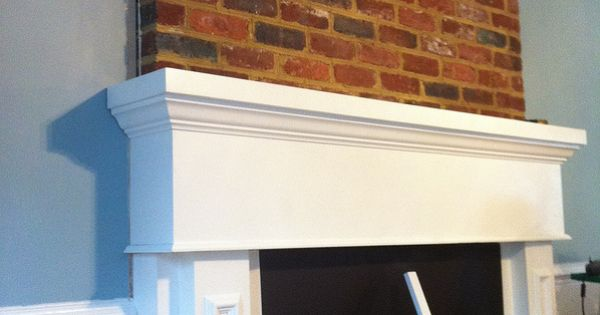 Installing Mantel Over Brick Fireplace By Crown Molding In Progress House Rental Remodel
