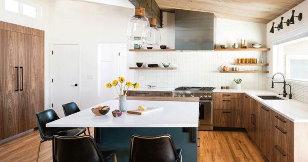 Kitchen Porcelain Tile Backsplashe Range Range Hood Light Hardwood Floor Wood Cabinet Undermount Si Flat Panel Cabinets Wood Cabinets Modern Wood Kitchen