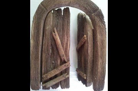 Imitacion de una puerta de madera para hacer portales de - Portales de madera ...