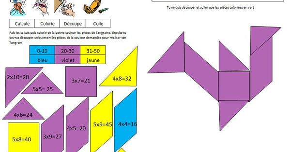 Coloriage tangram magique sur les tables de multiplication - Les tables de multiplication ce1 ...