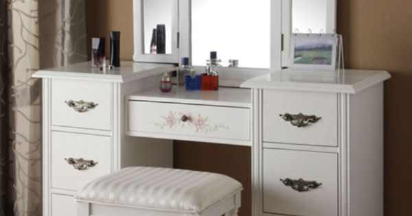 Torian pc white finish wood make up dressing table vanity set with stool and tri fold mirror.