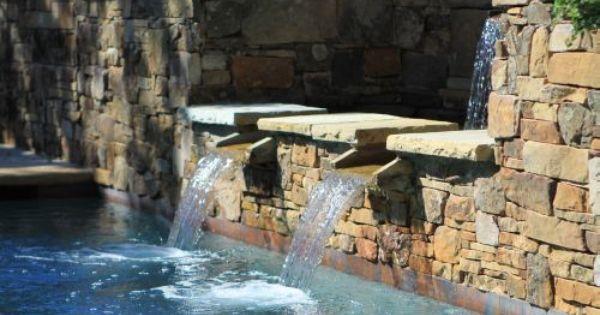 Dry Stack Stone Swimming Pool Fountain Dallas Luxury Swimming Pools Pinterest Swimming