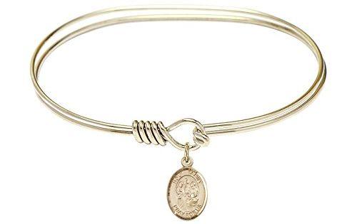 Bonyak Jewelry Round Eye Hook Bangle Bracelet w//St Sebastian in Gold-Filled