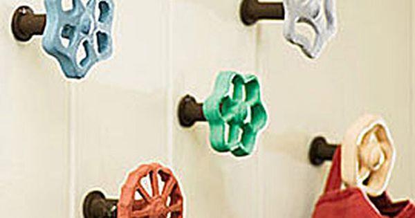 faucet hooks... a cute idea as wall hooks