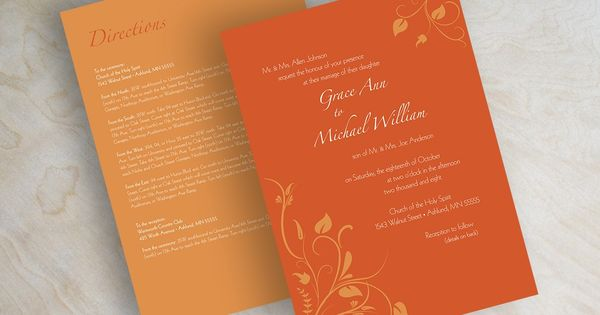 Wedding invitations, swirly flower vines in dark orange and pumpkin orange. $59.00, via Etsy ...