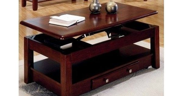 Lift Top Coffee Table In Cherry Finish With Storage Drawers And Bottom Shelf Logan Http Www