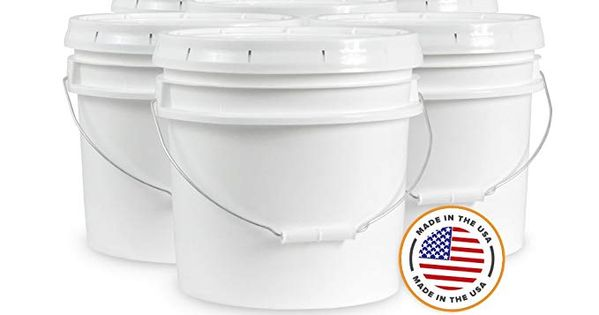 Ropak Usa 3 5 Gallon Food Grade White Plastic Bucket With Handle Food Grade Buckets