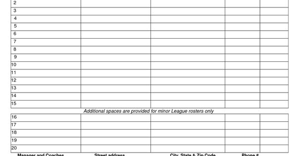 68508252 baseball roster template little league baseball team - baseball roster template