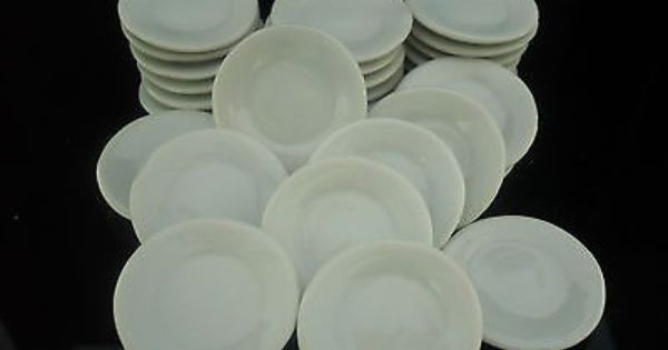 White Scallped Plates Dollhouse Miniatures Ceramic Supply Deco 10x25 mm