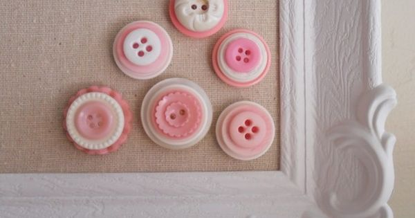 Button Magnets. Go through your button stash and glue layers together and