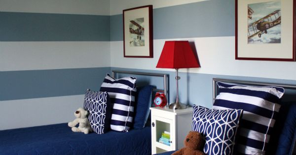 Love this little boy room. striped walls so awesome