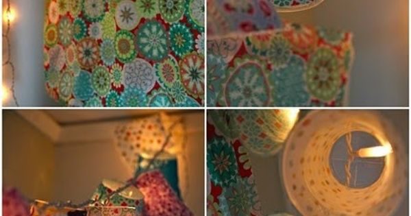 Cover plastic cups in fabric, attach to string lights! Pretty. - Click image to find more hot ...