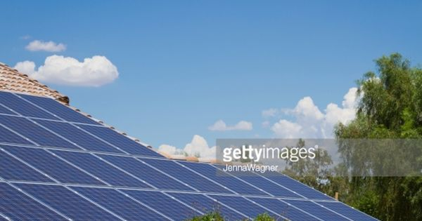 Solar Panels On A Tile Roof In Arizona Southwest Usa Lots Of Copy Solar Solar Panels Roof Solar Panel