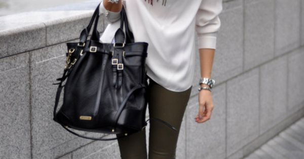 bag white scarf sweater pants black boots boots green pants white sweater
