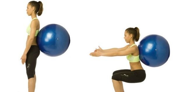 Squats with Ball For Lose Weight From Hips And Thighs