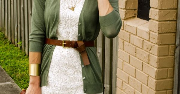 White lace dress, colored cardigan, brown accessories. Great way to take your