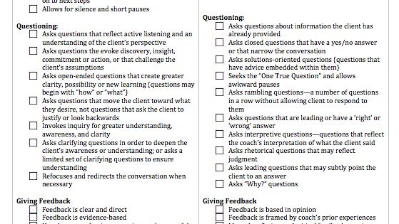 Tool To Evaluate Coaching Conversations