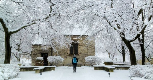 A Marquette Student Approaches The Winter Heaven That Is The St Joan Of Arc Chapel Joan Of Arc Saint Joan Of Arc Marquette University