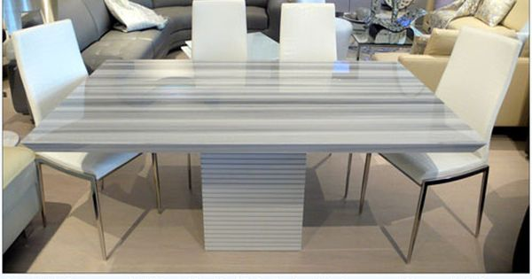 Imported Italian Grey Marble Dining Table With White Leather Croc