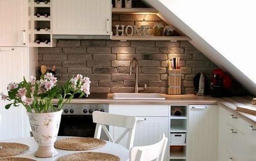 l sung f r k che mit dachschr ge ich liebe mauerwerk wohnen pinterest k che esszimmer. Black Bedroom Furniture Sets. Home Design Ideas