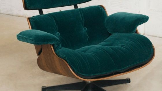 Charles eames lounge chair fauteuil charles eames velours vert vitra aut - Fauteuil bubble chair ...