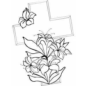 Cross And Lilies Printable Bible Coloring Pages Free To Download