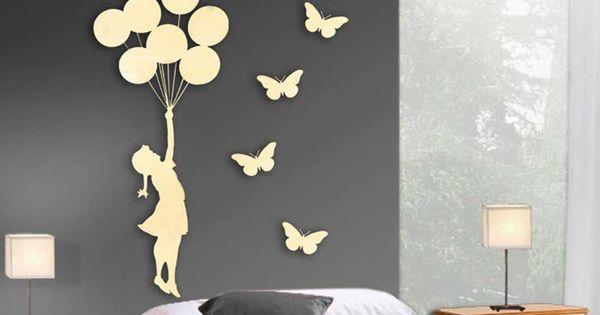 Figura de metal de pared ni a globos con 4 mariposas for Decoracion beltran