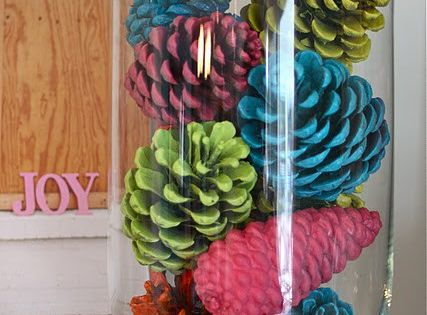 Spray paint pinecones. Bright colors or traditional Christmas colors would be pretty!