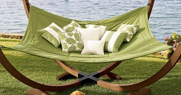 The PERFECT hammock. I would love this in my yard. However my