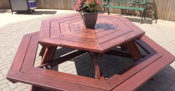 @MarkLambert40 built this 8-foot hexagon picnic table to ...