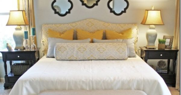 colors, headboard, mirrors above the bed