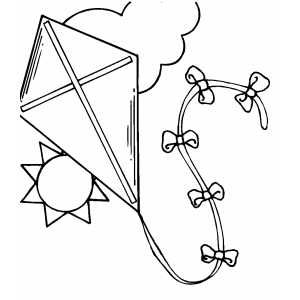 Kite In The Sky With Images Coloring Pages Kite