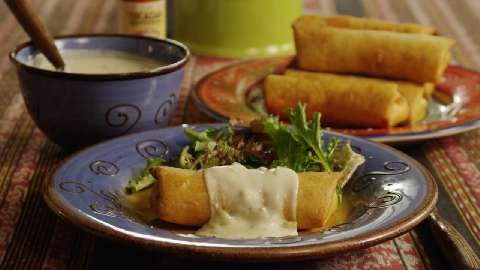 Chicken Chimichangas With Sour Cream Sauce Recipe White Cheese Sauce Sour Cream Sauce Cream Sauce
