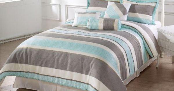 Bachelor 7pc comforter set light blue beige - Light blue and gray bedding ...