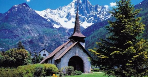 Rural Village Church in, The Swiss Alps .