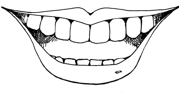 mouth and tongue clipart black and white